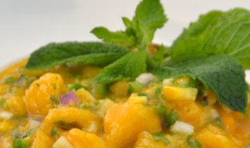 mango salsa with cilantro and mint